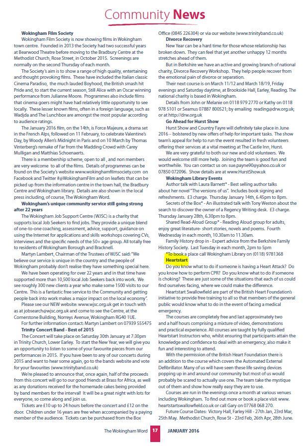 Article in the Wokingham Word