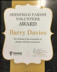 Barry Davis Volunteer of The Year 2016