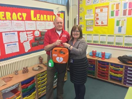 Barry with Mrs Sue Runciman, Head Teacher